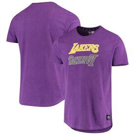 NBA ロサンゼルス・レイカーズ Tシャツ Brushed Jersey Wordmark Reflection Applique T-Shirt ニューエラ/New Era パープル