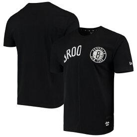 NBA ブルックリン・ネッツ Tシャツ Wordmark Logo Cut & Sew Applique Brushed T-Shirt ニューエラ/New Era ブラック