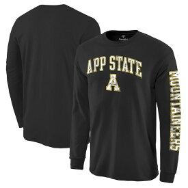 カレッジ Tシャツ NCAA アパラチア州立大学 マウンテニアーズ ディストレス アーチ ロゴ ロングスリーブ ブラック
