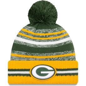 NFL パッカーズ ニットキャップ 2021 サイドライン Sideline Sport Pom Cuffed Knit Hat ニューエラ/New Era グリーン ゴールド