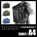 エース マッキントッシュ フィロソフィー リンクウッド2 3WAY ビジネスバッグ メンズ ブラック/カーキ/ブルー A4 59937