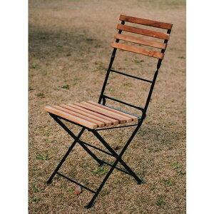 折り畳みアイアン チークチェア(2ヶ入) 34218 【送料無料】(ガーデンチェアー、木製椅子,イス)