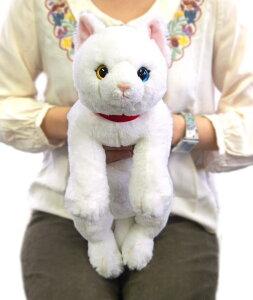 ひざねこ オッドアイWH (P-1832-1)【送料無料】(ねこ、ネコ、猫、ぬいぐるみ、人形、玩具、おもちゃ、キャラクターグッズ、プレゼントに最適)(楽天ランキング受賞・ぬいぐるみ ネコ2