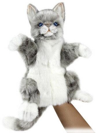 HANSA ハンドパペット ネコ グレー 7163【送料無料】(ねこ、ネコ、猫、人形、玩具、おもちゃ、ぬいぐるみ、キャラクターグッズ、プレゼントに最適)