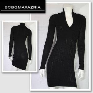 新作 LAセレブ着用 雑誌掲載【BCBG MAXAZRIA/BCBGマックスアズリア】 SWEATER DRESS(ブラック・BLK)/レディース【インポート】【セレカジ】【正規品】