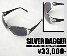 1773dd0d8f18ac 【SILVER DAGGER/シルバーダガー】ピースマークモチーフ付きサングラス(ブラック・BLK