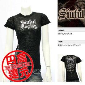 【SINFUL/シンフル】銀箔ハートウィングTシャツ(ブラック・BLK)/レディース【インポート】【セレカジ】【正規品】