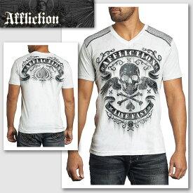 【送料無料】新作【AFFLICTION/アフリクション】DISCONNECT ウィングスカルTシャツ(ホワイト・WHT)/メンズ モノトーンにこだわり抜かれたプリントが大人かっこいいTシャツ【インポート】【セレカジ】【正規品】
