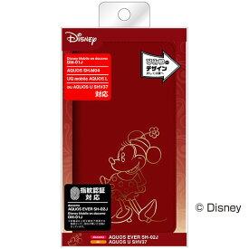 AQUOS SH-M04 SH-M04-A EVER SH-02J U SHV37 L UQ mobile Disney mobile DM-01J ケース 手帳型 ディズニー ホットスタンプ ミニー