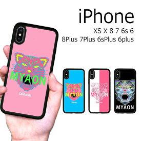 iPhone XS X 8 8Plus 7 7Plus 6s 6sPlus 6 6Plus ケース ソフトケース 耐衝撃 猫 虎 イラスト ロゴ カバー アイフォン スマホケース