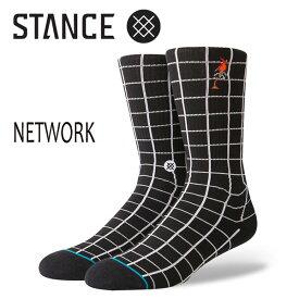 STANCE・スタンス/SOCKS・靴下・ソックス/18HO/THE CLASSIC CREW・NETWORK/BLK・ブラック/Lサイズ(25.5-29cm)/メンズ/チェッカー/ANTHEM 【あす楽 対応】