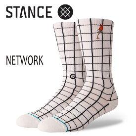STANCE・スタンス/SOCKS・靴下・ソックス/18HO/THE CLASSIC CREW・NETWORK/WHT・ホワイト/Lサイズ(25.5-29cm)/メンズ/チェッカー/ANTHEM