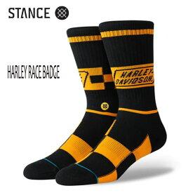 STANCE・スタンス/SOCKS・靴下・ソックス/19FA/THE CLASSIC CREW・HARLEY RACE BADGE/BLK・ブラック/Lサイズ(25.5-29cm)/メンズ/ハーレーダビットソン 【あす楽 対応】