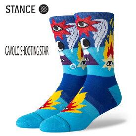 STANCE・スタンス/SOCKS・靴下・ソックス/19HO/THE CLASSIC CREW・CAVOLO SHOOTING STAR/BLU・ブルー/L(25-29cm)/リカルド・カボロ コラボレーションモデル