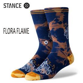 STANCE・スタンス/SOCKS・靴下・ソックス/19HO/THE CLASSIC CREW・FLORA FLAME/NVY・ネイビー/Lサイズ(25.5-29cm)/メンズ/花柄/タイダイ/サーフ/スケート 【あす楽 対応】