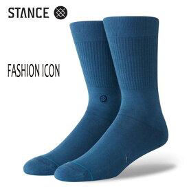 STANCE・スタンス/SOCKS・靴下・ソックス/THE CLASSIC CREW・FASHION ICON/IND・インディゴ/L(25-29cm)/メンズ/ロゴ/無地/アイコン