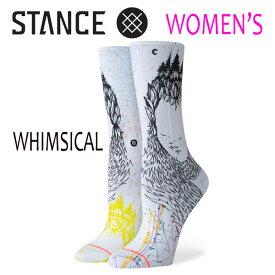 STANCE・スタンス/SOCKS・靴下・レディースソックス/19SP/CLASSIC CREW・WHIMSICAL/WHT・ホワイト/WOMENS・女性用/22-25cm/クルー/ノラ・バスコンセロス
