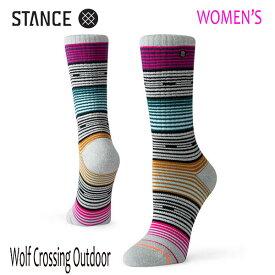 STANCE・スタンス/女性用/靴下・アウトドアソックス/PERFORMANCE MERINO WOOL/WOLF CROSSING OUTDOOR W/GRH・グレーヘザー/レディース/速乾/消臭/クルーソックス【あす楽 対応】