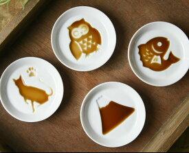 【あす楽対応】かげあそび 醤油皿 8.2cm 選べる4種類 / 白磁 しょうゆ皿 薬味皿 やくみ皿 ねこ 猫 ネコ 富士山 ふくろう フクロウ 鯛 美濃焼き 美濃焼 日本製
