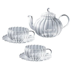 ティーフォーツー ウェーブ ポット付ティーセット(ティーポットとカップ&ソーサーのセット)YF-1006W / 吉谷硝子 耐熱ガラス ガラス食器 おしゃれ かわいい 来客用 冷茶 [MT0]