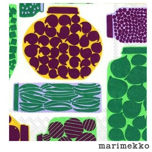 【ゆうパケットなら1個迄送料180円】マリメッコ ペーパーナプキン Purnukka プルヌッカ グリーン 20枚入り 33×33cm / marimekko ランチナプキン 北欧 デコパージュ 素材 ペーパー 紙