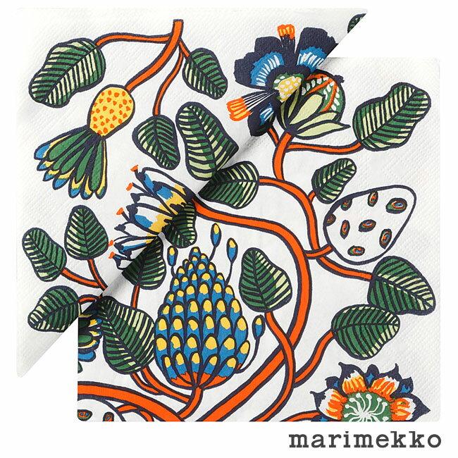 【ゆうパケットなら1個迄送料180円】マリメッコ ペーパーナプキン Tiara ティアラ オレンジ 20枚入り 33×33cm / marimekko ランチナプキン 北欧 デコパージュ 素材 ペーパー 紙