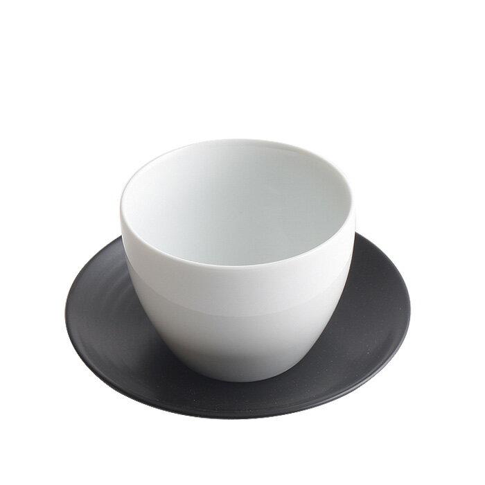 白山陶器 ティー土瓶 湯のみ猪口 白磁・陶茶托 黒炭釉セット / 湯呑み S-Line 波佐見焼
