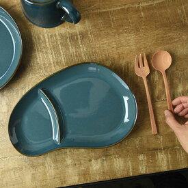 \決算売り尽くし/【あす楽対応】北欧ブルー おにぎり形ランチプレート / 仕切り皿 ランチプレート おしゃれ 北欧 美濃焼き 美濃焼 日本製 お皿