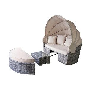 開梱・設置サービス付き♪ ラタン調 ソファー テーブル セット 【送料無料】 アジアン家具 おしゃれ 人工ラタン ガーデン ソファーセット テーブルセット 屋外 日よけ サンシェード付き 激