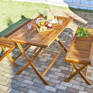 ベンチで並んで座れる ガーデンテーブルセット 折りたたみ ベンチタイプ 3点 木製 【送料無料】 ガーデンファニチャーセット 120 パラソル穴付き おしゃれ 無垢 屋外 高級 天然木 チーク材