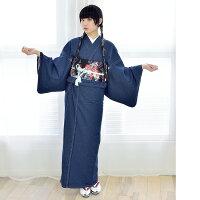 お洋服感覚で着れるカジュアル着物です♪【Nicoantiqueselect(ニコアンティークセレクト)お仕立て上がりデニム着物インディゴデニム】※こちらは着物単品での販売です。ブルー個性的おしゃれクール10-14-25-001