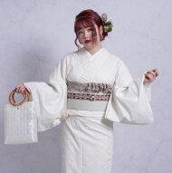 着物きもの和装国産単品レディースファブリックレトロモダン大正浪漫アンティーク風お洒落クリーム生成り白ホワイト小花薔薇ローズ日本製生地国産生地綿100%コットン※こちらは着物単品での販売です