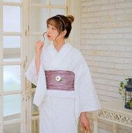 着物セットレディースきもの3点セット(着物/帯/下駄)日本製生地国産生地袷あわせ浴衣のように長襦袢なしで気軽に着ても◎綿100%コットンファブリック着物レース刺繍レース白ホワイトピンク浴衣セットゆかた女性レトロフリーサイズ