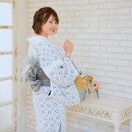 着物セットレディースきもの3点セット(着物/帯/下駄)日本製生地国産生地袷あわせ浴衣のように長襦袢なしで気軽に着ても◎綿100%コットンファブリック着物レース刺繍レース白ホワイト黒浴衣セットゆかた女性レトロフリーサイズ