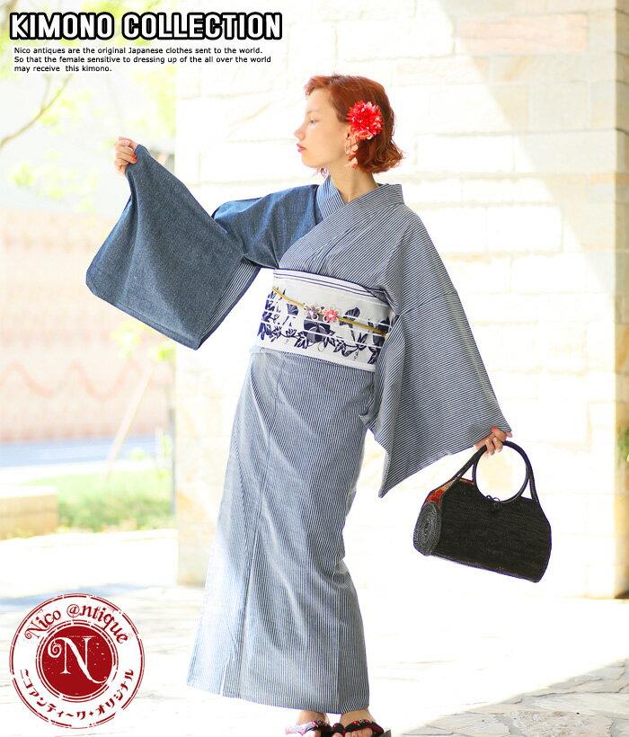 お洋服感覚で着れるカジュアル着物です♪【Nico antique select(ニコアンティークセレクト) お仕立て上がりデニム着物 アシンメトリーデニム×ヒッコリー ネイビー】※こちらは着物単品での販売です。 ブルー デニム 個性的 おしゃれ クール 11-15-19-002