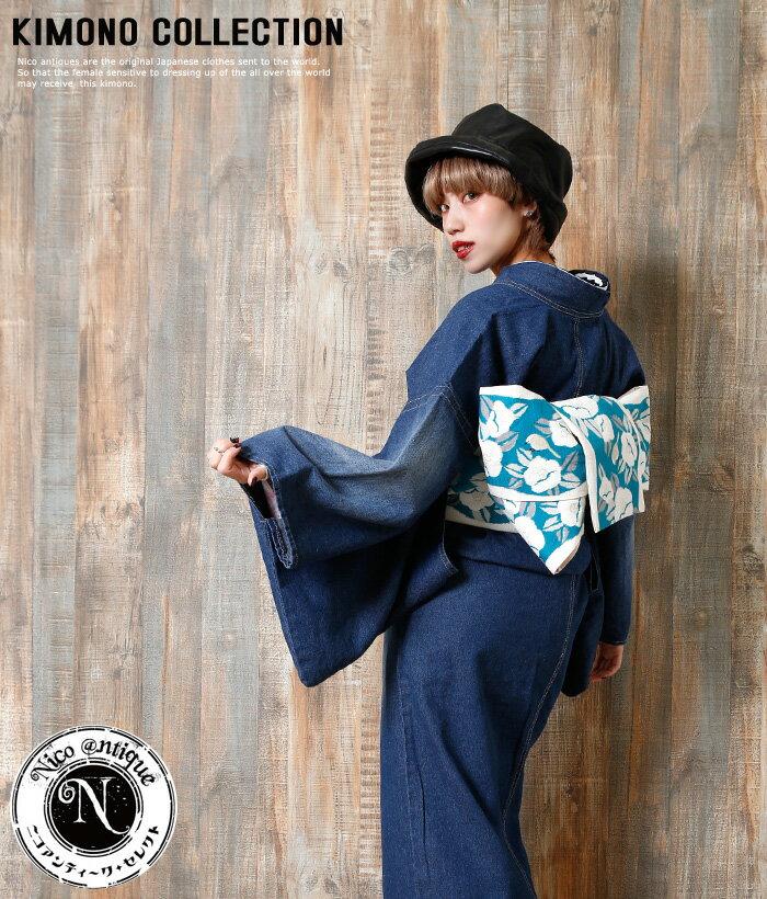 お洋服感覚で着れるカジュアル着物です♪【Nico antique select(ニコアンティークセレクト) used加工!お仕立て上がりデニム着物 ブルーデニム】※こちらは着物単品での販売です。 インディゴ 個性的 おしゃれ クール 10-14-25-002