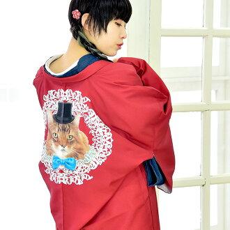 Haori long haori lined kimono lady's woman coat outer Taisho wave abusive putting design on kimono adjustable size polyester red cat real individual kimono kimono in Japanese dress
