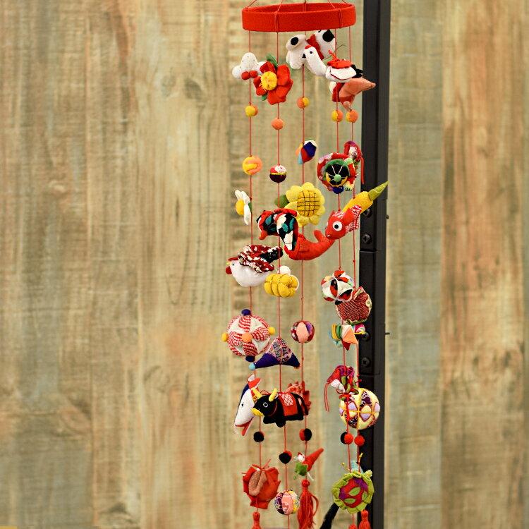 縮緬工芸品。子供の成長を願う贈り物として。『京都のつるし飾り ちりめん おまかせ7個つるし×5本』つるし雛/誕生日/雛祭り/子供の日/七五三/新春/お正月/お祝い/和雑貨/インテリア/プレゼント/ギフト/ニコアンティーク 04-08-13-007