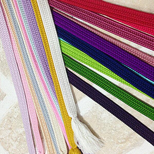 ◆全20色◆ レトロ & ロマンティックカラー 正絹 帯締め おびじめ 平織 絹100% 小紋 袷 単衣 着物 振袖 シンプル 無地 個性的カラーであなただけのスタイルを! KIMONO 大正ロマン obijimehira-001