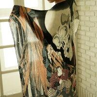 スカーフ大判シルク100%日本製国産ストールマフラーアウターバッグスカーフリボンベルトリング浮世絵柄ギフトお土産海外おみやげプレゼント送料無料