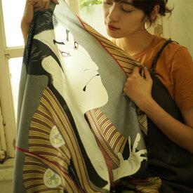 スカーフ 大判 シルク100% 日本製 国産 ストールマフラー アウター バッグスカーフ リボン ベルト リング  浮世絵柄 ギフト お土産 海外 おみやげ プレゼント