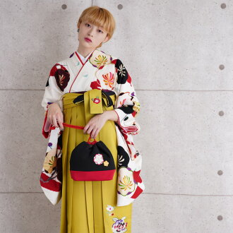 Hakama set adult woman Lady's hakama set graduation ceremony kimono rental coming and going 2 shaku sleeve kimono hakama full set tabi present 17 points full set