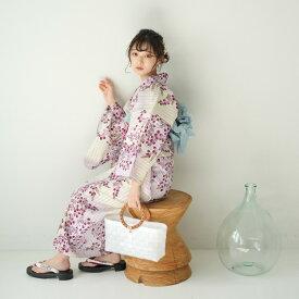 浴衣 セット レディース 浴衣 3点セット(浴衣/帯/下駄)白 ラベンダー ワイン 赤紫 萩 縞 ストライプ 浴衣セット ゆかた 女性 レトロ フリーサイズ