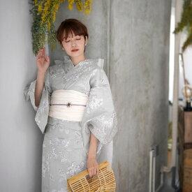 浴衣 セット レディース 浴衣 3点セット(浴衣/帯/下駄)日本製生地 国内染色 日吉染業 ミントグリーン 白 グレー 浴衣セット ゆかた 女性 レトロ フリーサイズ