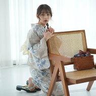 浴衣セットレディース浴衣3点セット(浴衣/帯/下駄)日本製生地国内染色和歌山染工ベージュ白水色ミント朝顔NicoAntiqueニコアンティーク浴衣セットゆかた女性レトロフリーサイズ