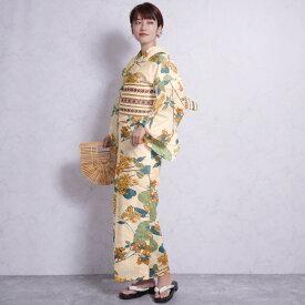 浴衣 セット レディース 浴衣 3点セット(浴衣/帯/下駄)ベージュ 黄色 青 緑 ニコアンティーク Nico Antique 浴衣セット ゆかた 女性 レトロ フリーサイズ