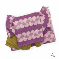 浴衣帯作り帯大人レディース簡単帯単品結び帯8種類付け帯つくり帯浴衣用献上風水玉菊花幾何学レース柄北欧風生成り赤水色紫