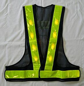 黄色LED 安全ベスト 紺/黄 仙台銘板