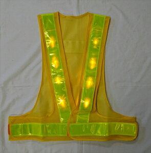 【11日1:59までポイント2倍】黄色LED 安全ベスト 黄/黄 仙台銘板