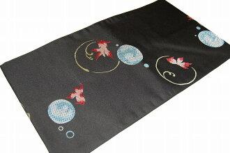 童話故事模式 (切開) 西陣名古屋歐比-No.2027 (純絲綢面料和剪裁了) 碎花,紬、 固色。